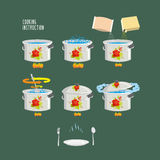 Instruction cooking  illustration.  Set pots infographics Stock Photography