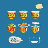 Instruction cooking. Set pots infographics. Home Cooking Recipe. Step by step instructions, ingredients stock illustration