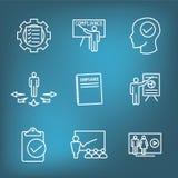 Instruction de conformité - icônes de essai avec les étudiants de enseignement de travailleur d'instructeur illustration libre de droits