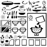 Instruction de cuisson pour la conception de l'emballage de demis-produits Photos libres de droits