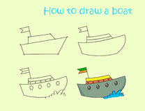 Instruction drawing funny colorful boat Stock Image
