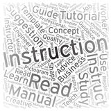 Instruction, fond d'art de nuage de Word Images libres de droits