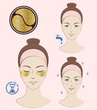Instruction: How to apply cosmetic patches under the eyes. Golden patches. Skincare. Vector  illustration. Stock Image