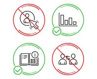 Instruction info, User and Histogram icons set. Communication sign. Project, Project manager, Economic trend. Vector royalty free illustration