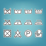 Instruction laundry. Dry cleaning and care. Flat icons Stock Photo