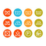 Instruction laundry, dry cleaning, care icons, washing symbols Stock Image