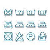 Instruction laundry, dry cleaning, care icons, washing symbols Stock Photos