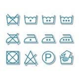 Instruction laundry, dry cleaning, care icons, washing symbols Stock Photos