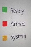 Instruction-macro armé de panneau de système d'alarme de garantie à la maison Image libre de droits