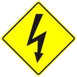 Instruction-macro d'isolement par signe à haute tension de risque électrique photographie stock libre de droits