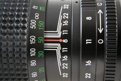 Instruction-macro d'objectif de caméra Photographie stock libre de droits