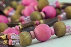 Instruction-macro de collier de Bijoux Photographie stock