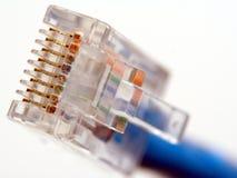 Instruction-macro de fiche de connexion réseau RJ45 photographie stock