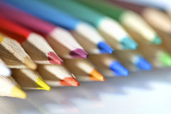 Instruction-macro de pallete de crayon de couleur Photographie stock