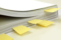 Instruction Manual. Marked with yellow post-it tags.  Soft focus Stock Photo