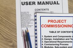 Instruction manual on how to start a plant. And commissioning documents Royalty Free Stock Photo