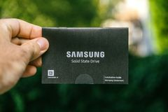 Instruction manual of Samsung SD disk drive Royalty Free Stock Photos