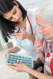 Instruction on pills` dosage Stock Photo