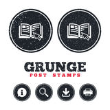 Instruction sign icon. Manual book symbol. Grunge post stamps. Instruction sign icon. Manual book symbol. Read before use. Information, download and printer stock illustration