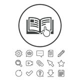 Instruction sign icon. Manual book symbol. Read before use. Document, Chat and Paper clip line signs. Question, Pencil and Calendar line icons. Star, Download stock illustration
