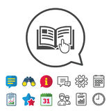 Instruction sign icon. Manual book symbol. Read before use. Information, Report and Calendar signs. Group, Service and Chat line icons. Vector royalty free illustration