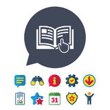 Instruction sign icon. Manual book symbol. Read before use. Information, Report and Speech bubble signs. Binoculars, Service and Download, Stars icons. Vector royalty free illustration