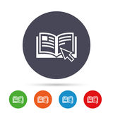 Instruction sign icon. Manual book symbol. Read before use. Round colourful buttons with flat icons. Vector royalty free illustration