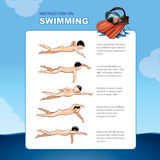 Instruction on swimming. A table template How to learn it is easy to float in the sea Stock Photos