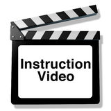 Instruction video. For training and how to teaching using streaming internet media or other types of film as DVD and online viewing represented by a clapboard Stock Photo