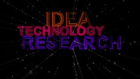 Idea, Research, Technology as Concept Words. An instructional 3d illustration of such concept words as idea, technology and research. They are orange, purple and Royalty Free Stock Image