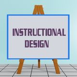 Instructional Design concept. 3D illustration of INSTRUCTIONAL DESIGN title on a tripod display board Royalty Free Stock Photography