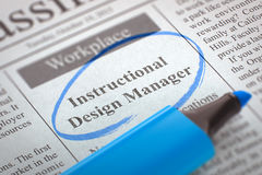 Instructional Design Manager Hiring Now. 3D Illustration. Stock Image