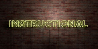 INSTRUCTIONAL - fluorescent Neon tube Sign on brickwork - Front view - 3D rendered royalty free stock picture. Can be used for online banner ads and direct Stock Images