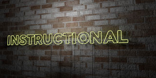 INSTRUCTIONAL - Glowing Neon Sign on stonework wall - 3D rendered royalty free stock illustration. Can be used for online banner ads and direct mailers Royalty Free Stock Image