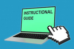 Instructional Guide concept. 3D illustration of INSTRUCTIONAL GUIDE script with pointing hand icon pointing at the laptop screen Royalty Free Stock Image