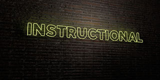 INSTRUCTIONAL -Realistic Neon Sign on Brick Wall background - 3D rendered royalty free stock image. Can be used for online banner ads and direct mailers Stock Image