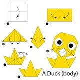 Instructions étape-par-étape comment faire à origami Duck Body Photo stock