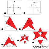 instructions étape-par-étape comment faire à origami Santa Star illustration de vecteur