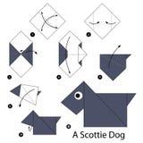 Instructions étape-par-étape comment faire à origami Scottie Dog illustration stock