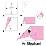 Instructions étape-par-étape comment faire à origami un éléphant illustration libre de droits