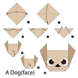Instructions étape-par-étape comment faire à origami un chien photographie stock libre de droits