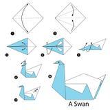 Instructions étape-par-étape comment faire à origami un cygne Photos libres de droits