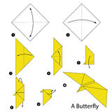 Instructions étape-par-étape comment faire à origami un papillon illustration de vecteur