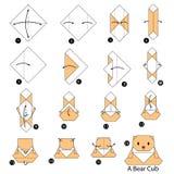 Instructions étape-par-étape comment faire à origami un petit animal d'ours illustration stock