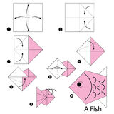 Instructions étape-par-étape comment faire à origami un poisson Images stock