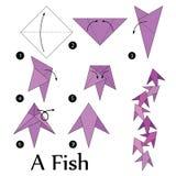 Instructions étape-par-étape comment faire à origami un poisson Photographie stock libre de droits