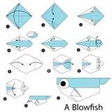 Instructions étape-par-étape comment faire à origami un poisson de coup illustration de vecteur