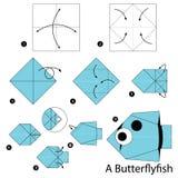 Instructions étape-par-étape comment faire à origami un poisson de papillon Photo libre de droits