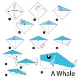 Instructions étape-par-étape comment faire à origami une baleine images libres de droits