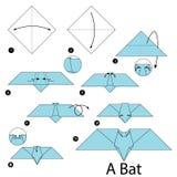 Instructions étape-par-étape comment faire à origami une batte illustration libre de droits